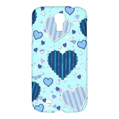 Light And Dark Blue Hearts Samsung Galaxy S4 I9500/i9505 Hardshell Case by LovelyDesigns4U