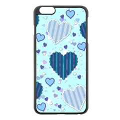 Light And Dark Blue Hearts Apple Iphone 6 Plus/6s Plus Black Enamel Case by LovelyDesigns4U