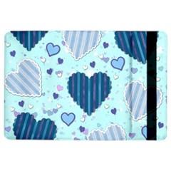 Light And Dark Blue Hearts Ipad Air 2 Flip by LovelyDesigns4U