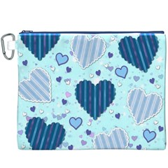 Light And Dark Blue Hearts Canvas Cosmetic Bag (xxxl) by LovelyDesigns4U