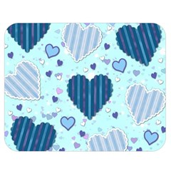 Light And Dark Blue Hearts Double Sided Flano Blanket (medium)  by LovelyDesigns4U