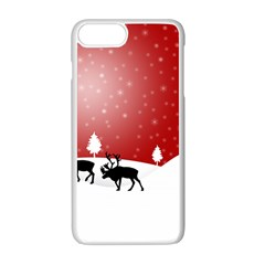 Reindeer In Snow Apple iPhone 7 Plus White Seamless Case by Zeze