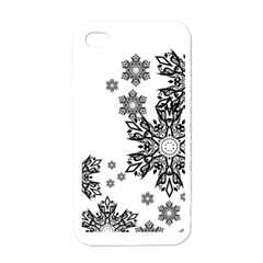 Beautiful Black And White Snowflakes  Apple Iphone 4 Case (white) by Brittlevirginclothing