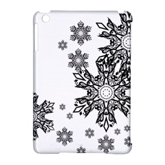 Beautiful Black Ans White Snowflakes Apple Ipad Mini Hardshell Case (compatible With Smart Cover) by Brittlevirginclothing
