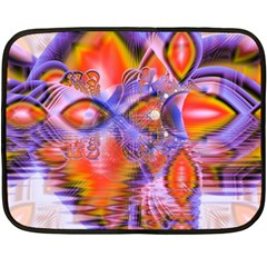 Crystal Star Dance, Abstract Purple Orange Fleece Blanket (mini) by DianeClancy