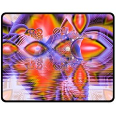 Crystal Star Dance, Abstract Purple Orange Double Sided Fleece Blanket (medium)  by DianeClancy