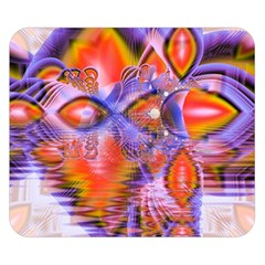 Crystal Star Dance, Abstract Purple Orange Double Sided Flano Blanket (small)  by DianeClancy