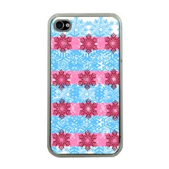 Pink Snowflakes Pattern Apple Iphone 4 Case (clear) by Brittlevirginclothing