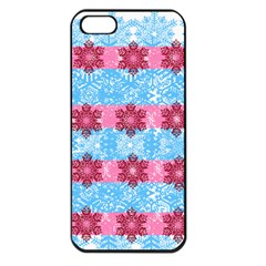 Pink Snowflakes Pattern Apple Iphone 5 Seamless Case (black) by Brittlevirginclothing