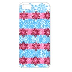 Pink Snowflakes Pattern Apple Iphone 5 Seamless Case (white) by Brittlevirginclothing