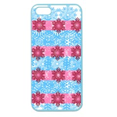 Pink Snowflakes Pattern Apple Seamless Iphone 5 Case (color) by Brittlevirginclothing