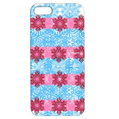 Pink Snowflakes Pattern Apple Iphone 5 Hardshell Case With Stand by Brittlevirginclothing