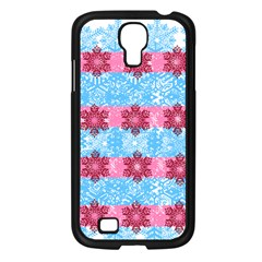 Pink Snowflakes Pattern Samsung Galaxy S4 I9500/ I9505 Case (black) by Brittlevirginclothing