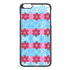 Pink Snowflakes Pattern Apple Iphone 6 Plus/6s Plus Black Enamel Case by Brittlevirginclothing