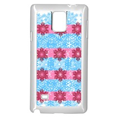 Pink Snowflakes Pattern Samsung Galaxy Note 4 Case (white) by Brittlevirginclothing