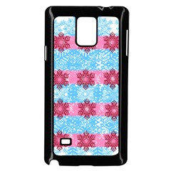 Pink Snowflakes Pattern Samsung Galaxy Note 4 Case (black) by Brittlevirginclothing