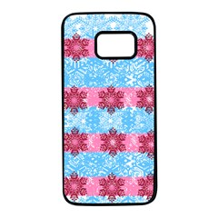 Pink Snowflakes Pattern Samsung Galaxy S7 Black Seamless Case by Brittlevirginclothing