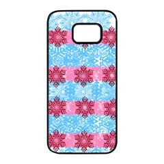 Pink Snowflakes Pattern Samsung Galaxy S7 Edge Black Seamless Case by Brittlevirginclothing