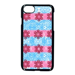 Pink Snowflakes Pattern Apple Iphone 7 Seamless Case (black) by Brittlevirginclothing