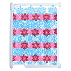 Pink Snowflakes Pattern Apple Ipad 2 Case (white) by Brittlevirginclothing