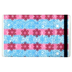 Pink Snowflakes Pattern Apple Ipad 2 Flip Case by Brittlevirginclothing
