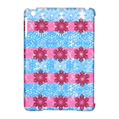 Pink Snowflakes Pattern Apple Ipad Mini Hardshell Case (compatible With Smart Cover) by Brittlevirginclothing