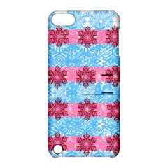 Pink Snowflakes Pattern Apple Ipod Touch 5 Hardshell Case With Stand by Brittlevirginclothing