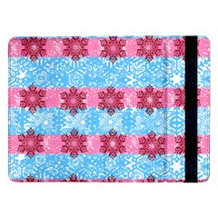 Pink Snowflakes Pattern Samsung Galaxy Tab Pro 12 2  Flip Case by Brittlevirginclothing