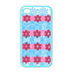 Pink Snowflakes Pattern Apple Iphone 4 Case (color) by Brittlevirginclothing