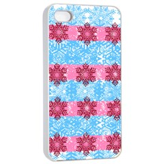 Pink Snowflakes Pattern Apple Iphone 4/4s Seamless Case (white) by Brittlevirginclothing