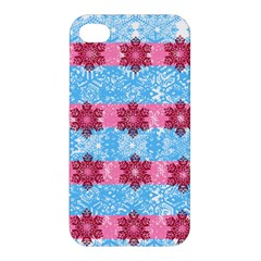 Pink Snowflakes Pattern Apple Iphone 4/4s Premium Hardshell Case by Brittlevirginclothing
