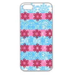 Pink Snowflakes Pattern Apple Seamless Iphone 5 Case (clear) by Brittlevirginclothing