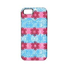 Pink Snowflakes Pattern Apple Iphone 5 Classic Hardshell Case (pc+silicone) by Brittlevirginclothing