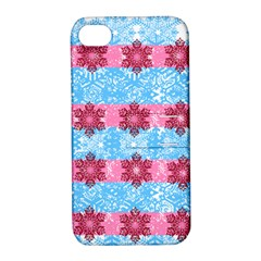 Pink Snowflakes Pattern Apple Iphone 4/4s Hardshell Case With Stand by Brittlevirginclothing