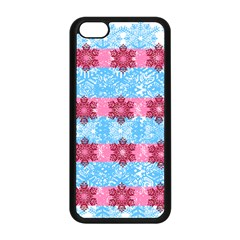 Pink Snowflakes Pattern Apple Iphone 5c Seamless Case (black) by Brittlevirginclothing