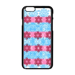 Pink Snowflakes Pattern Apple Iphone 6/6s Black Enamel Case by Brittlevirginclothing
