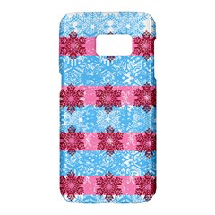 Pink Snowflakes Pattern Samsung Galaxy S7 Hardshell Case  by Brittlevirginclothing