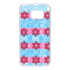 Pink Snowflakes Pattern Samsung Galaxy S7 White Seamless Case by Brittlevirginclothing