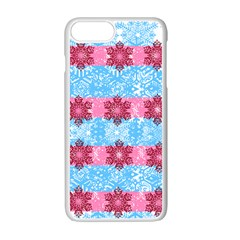 Pink Snowflakes Pattern Apple Iphone 7 Plus White Seamless Case by Brittlevirginclothing