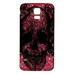 Vintage Pink Flowered Skull Pattern  Samsung Galaxy S5 Back Case (white) by Brittlevirginclothing