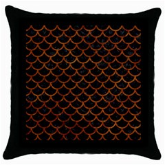 Scales1 Black Marble & Brown Marble Throw Pillow Case (black) by trendistuff