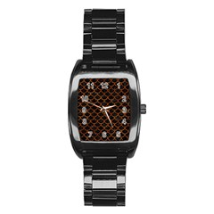 Scales1 Black Marble & Brown Marble Stainless Steel Barrel Watch by trendistuff
