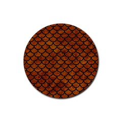 Scales1 Black Marble & Brown Marble (r) Rubber Round Coaster (4 Pack) by trendistuff