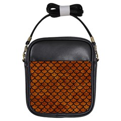 Scales1 Black Marble & Brown Marble (r) Girls Sling Bag by trendistuff