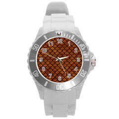 Scales1 Black Marble & Brown Marble (r) Round Plastic Sport Watch (l) by trendistuff