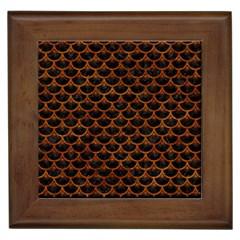 Scales3 Black Marble & Brown Marble Framed Tile by trendistuff