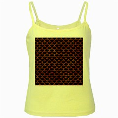 Scales3 Black Marble & Brown Marble Yellow Spaghetti Tank by trendistuff