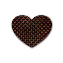 Scales3 Black Marble & Brown Marble Rubber Coaster (heart) by trendistuff