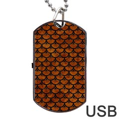 Scales3 Black Marble & Brown Marble (r) Dog Tag Usb Flash (one Side) by trendistuff