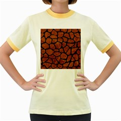 SKN1 BK-BR MARBLE Women s Fitted Ringer T-Shirts by trendistuff